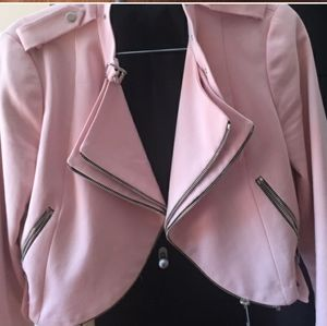 Pink Zara Zipper Moto Jacket